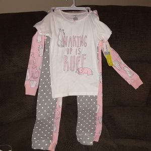 Carter's 4 piece pajama set NWT puppies/flowers